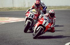 The great Wayne Rainey with the no.1 on his Marlboro Yamaha being followed by his closest rival and competitor Kevin Schwantz on his Lucky Strike Suzuki with his number 34 and behind just about showing his Rothman's Honda, Mick Doohan who dominated MotoGP once Rainey was paralysed and Schwantz lost his motivation to race.