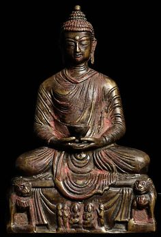 Highly unusual vintage/old bronze Buddha, probably from Nepal.