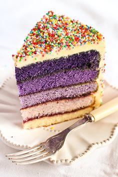 Purple Ombre Sprinkles Cake Slice