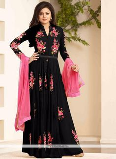 This black georgette designer floor length suit is adding the interesting glamorous displaying the feel of cute and graceful. The lovely embroidered and resham work a substantial element of this attir...