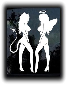 Devil Angel Good Evil Twins standing - Custom Window Decal Stickers - Choose Color and Size - **Free Shipping**