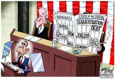 Obama's State of the Union address. Gary Varvel on GoComics.com #humor #Comics #Obama #Politics