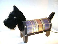 Vintage Scottie Dog Lamp, Handmade Folk Art, 4-H / Scout Project, Primitive Wood, Black, Terrier Puppy, Plaid, Tail Switch