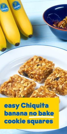 This easy chiquita banana no bake cookies squares recipe couldn't be easier. Just a few simple ingredients and you have a snack that's sure to please! Healthy Snacks, Healthy Eating, Healthy Recipes, Healthier Desserts, Diabetic Recipes, Yummy Recipes, Free Recipes, No Bake Cookies, Cookies Et Biscuits