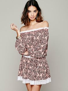 <3 I'm in love with this! <3    Free People Sunday Romance Off-The-Shoulder Dress, 118.00