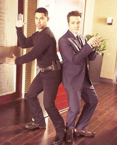 """Jon Huertas and Seamus Dever - Esposito and Ryan from Castle. Two of my favorite supporting characters in a TV show """"I can be Charlie and you guys can be my angels,"""" -Richard Castle Tv Castle, Watch Castle, Castle 2009, Castle Tv Series, Castle Tv Shows, Castle Beckett, Criminal Minds, Ncis, Chicago Fire"""
