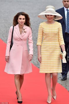 Queen Mathilde and Jordan's Queen Rania during a welcome ceremony outside the Royal Palace...