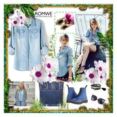 """""""Bleached Denim Blouse"""" by ane-twist ❤ liked on Polyvore featuring мода и Dr. Martens"""