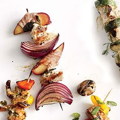 Chicken, Red Onion, and Prosciutto-Wrapped Plum Kebabs | MyRecipes.com #myplate #protein
