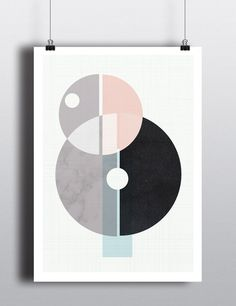 Affiche minimaliste, 12x18, formes géométriques, art abstrait, scandinave…