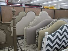 Burlap street in Atlanta- upholstered headboards. Yes please!!!  I am loving these!  Great prices! :)