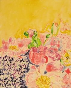 Kate Lewis, Welcome Spring, 2010, graphite and watercolor on canvas. Helen Frankenthaler meets David Milne.  @katelittlehouse xx