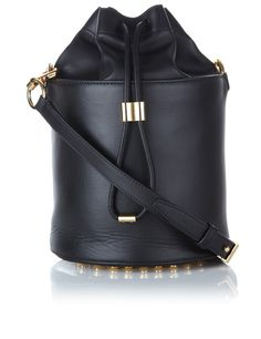 Black Leather Bucket Bag by Alexander Wang Grab Bags, Fashion Bags, Women's Fashion, Shoulder Handbags, Shoulder Bags, My Bags, Leather Handbags, Alexander Wang, Black Leather