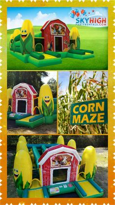 The Corn Maze Obstacle Course is one of our newest, most exciting interactive bounce houses! It has a fun barn yard theme that makes this obstacle course great for all the fall festivities. Its rustic barn door, friendly farm animals, and happy ears of corn make the Corn Maze simply delightful. Best of all, it's fun the whole family can enjoy! Perfect for large events, the Corn Maze has inflatable pop-ups, crawl throughs, and plenty of excitement for all your guests. Pair it with a popcorn…
