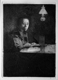 Self-portrait seated at a table n. 2 (c. 1892), etching with aquatint - Käthe Kollwitz