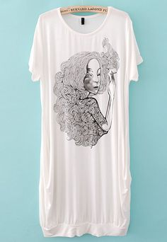 White Short Sleeve Smoking Beauty Print Dress  -This illustration is lovely.