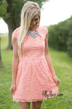 3a1c7818d41 Aria on Lace in Peach - An adorable short lace dress for summer!