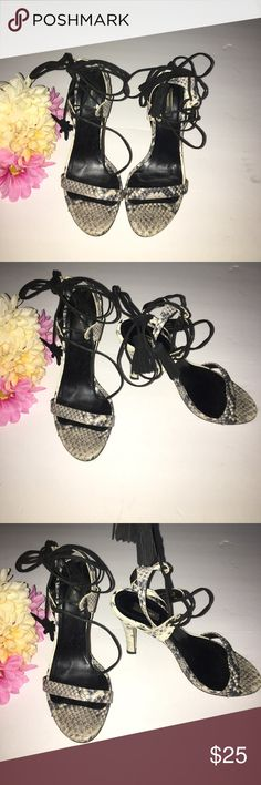 """Mango Real Snake Skin Open Toe Tassle Heels Designed in Spain, Snake skin one strap heels by Mango   gorgeous and trendy   wrap up around Ankle   4 star condition due to wear on bottom   size 8   4"""" heel   Mango Shoes Heels"""
