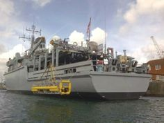 Hydroid REMUS 600 MCM Recce UUV Launch and Recovery system onboard Royal Navy Hunt Class MCM Vessel