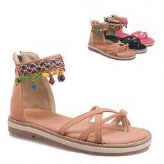 b40cc334229c Women Bohemian Flat Heels Sandals Casual Summer Gladiator Ladies Shoes Woman  Comfort Beach Shoes Flat Sandals