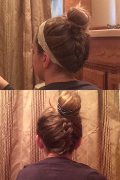 French-braided updo!  I saw this somewhere and decided to try It out. I used a bracelet in the top for an accessory. Also in the bottom picture I used my sisters headband and I think it looks better. But it could still look cute without anything to spice it up!
