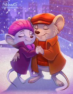 I found this picture of the 2 little mice from 'The Rescuers', Bernard and Miss Bianca, on DeviantArt.