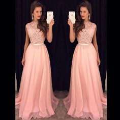 Lace Top Pink Prom Dress, Long Evening Dress