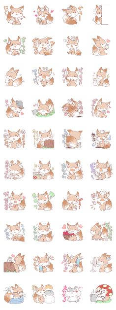 """""""KIi"""" of a slightly coward fox It is always same as the hamster of the good friend Daily life stamp"""