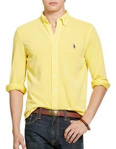 Polo Ralph Lauren Featherweight Mesh Shirt Men's Yellow Medium