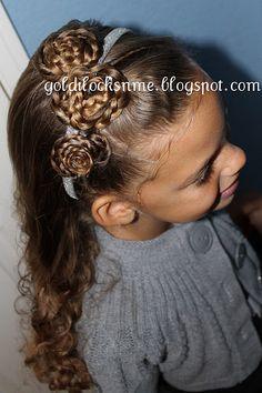 Braided Rosettes with Headband Little Girl Hairstyle.so cute, def going to be Ariya's picture day hairstyle Girly Hairstyles, Cute Little Girl Hairstyles, Pretty Hairstyles, Braided Hairstyles, Perfectly Posh, Cool Hair Designs, Rachel Hair, Fancy Braids, Natural Hair Styles