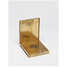 This diptych compass and sundial was made in Augsburg, Germany in 1581 by Christopher Schissler. The compass and sundial is made from gilt-brass. The technique the maker used was etching and engraving.  The diptych dial had two leaves hinged together, which was one of the most common forms. Portable sundials helped travelers to predict the time while on the road.