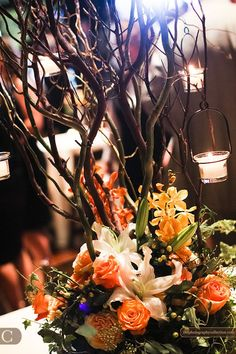 Centerpiece tree with lilies Wedding Doves, Tree Wedding, Fall Wedding, Rustic Wedding, Wedding Fun, Wedding Stuff, Wedding Ideas, Country Wedding Centerpieces, Tree Centerpieces
