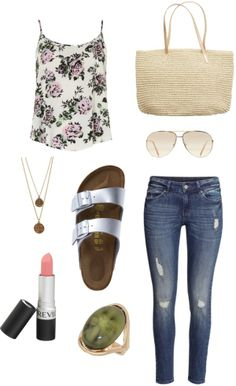 Outfit ideas. Silver metallic birkenstock sandals. Skinny jeans. Floral top. Tote. Outfit inspiration to rock the Birkenstock
