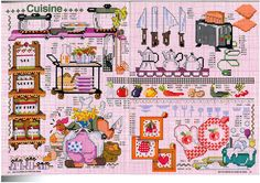 Cuisine cross stitch carts