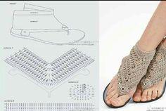 Crochet Art added 71 new photos to the album: Slippers ! Crochet Slipper Boots, Crochet Sandals, Crochet Slippers, Crochet Shoes Pattern, Shoe Pattern, Crochet Chart, Crochet Lace, Tongs Crochet, Crochet Flip Flops