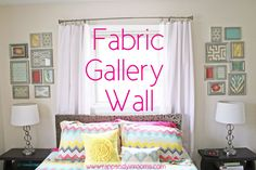 How to Make a Fabric Gallery Wall. Good idea for blocking out a grouping of frames using paper cutouts.