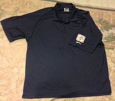 @@ SLAZENGER Navy Blue Polo Shirt SZ 2XL AAU Patch Wicking Breathable UV 30 Size #Slazenger #PoloRugby