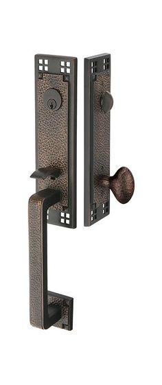 Emtek ridgemont double sided entry door handle in oil for Arts and crafts exterior door hardware