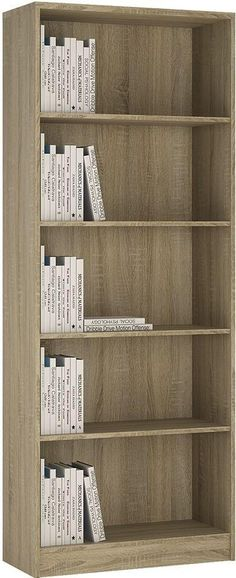Dimensions W 74cm x H 189.5cm x D 34.6cm Assembly Flat Packed Tall Wide Bookcase in Sonama Oakhis extra tall wide bookcase has several adjustable shelves, and c