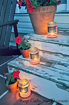 DIY American Flag Mason Jars! Pair them with a a red white or blue blooming plant!