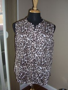 Westbound Wrinkle Free Sleeveless Brown Animal Print Blouse Size XL #Westbound #Blouse