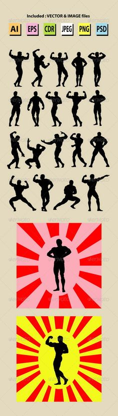 Bodybuilding Silhouettes #GraphicRiver