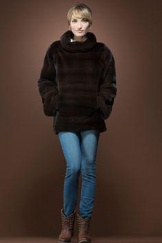 Mahogany Mink Cowl Neck Fur Pullover