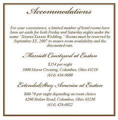Accomodation Card Wording