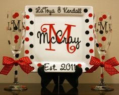 Personalized Porcelain Wedding or Anniversary Plate with 2 Champagne Flutes. $30.00, via Etsy.