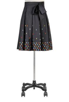 Raindrop Embellished Poplin Skirt with Box Pleats by eShakti