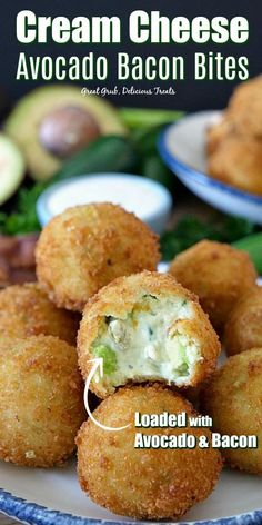 Cream Cheese Avocado Bacon Bites are stuffed with avocado cream cheese bacon two types of cheese green onions a little red onion cilantro jalapenos and fried to perfection. Yummy Appetizers, Appetizers For Party, Appetizer Recipes, Bacon, Yummy Treats, Yummy Food, Delicious Snacks, Avocado Cream, Game Day Food