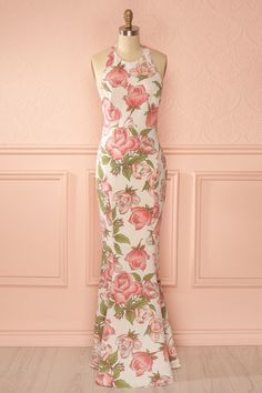 Long open-back dress - flowers - sleeveless - Valentine's day Xuan Pink from Boutique 1861 www.1861.ca