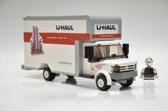 Custom City Moving Truck Model built with Real LEGO (R) Bricks