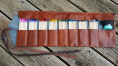 Leather Pencil Roll / Cognac tone / 48 ct by UpshotArchery on Etsy